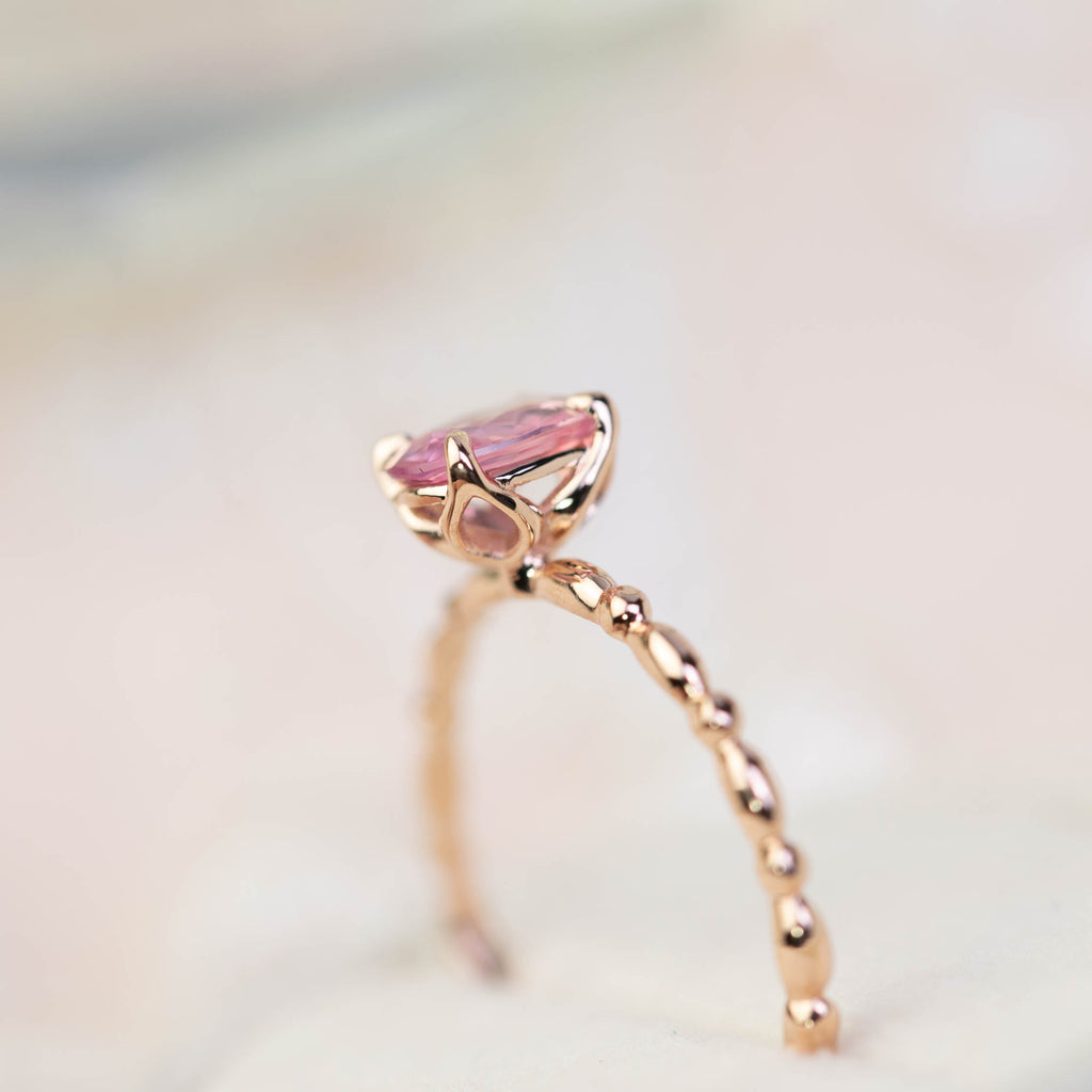 Unheated natural pink sapphire ring