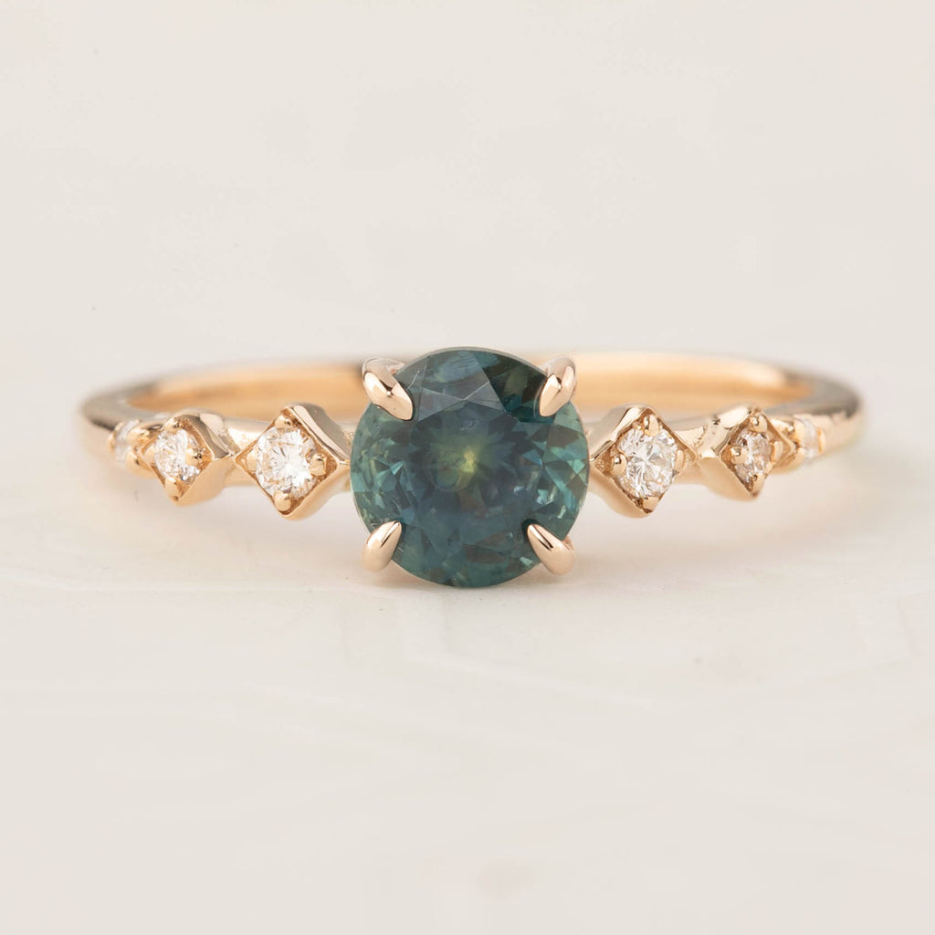 Celeste Ring - 1.19ct Teal Blue Montana Sapphire, 14k Rose Gold (One of a kind)