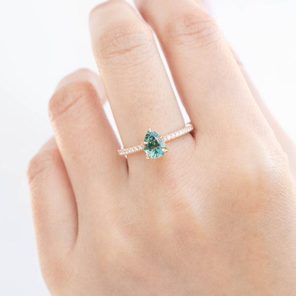 Maria Ring - 1.31ct Pear Cut Light Blue Green Montana Sapphire (One of a kind)