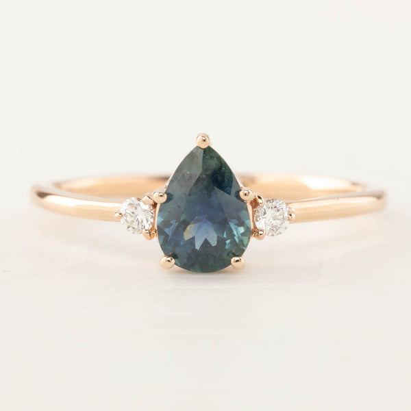 Emilie Ring - 0.87ct Pear Teal Montana Sapphire, 14k Rose Gold (One of a kind)