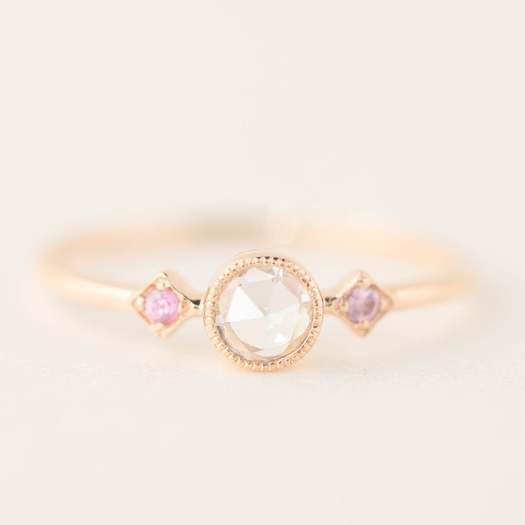 Star & Moon Ring - Rose Cut Diamond and Pink Sapphire