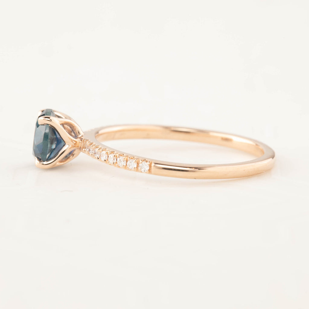 Maria Ring - 1.13ct Teal Blue Montana Sapphire, 14k Rose Gold (One of a kind)