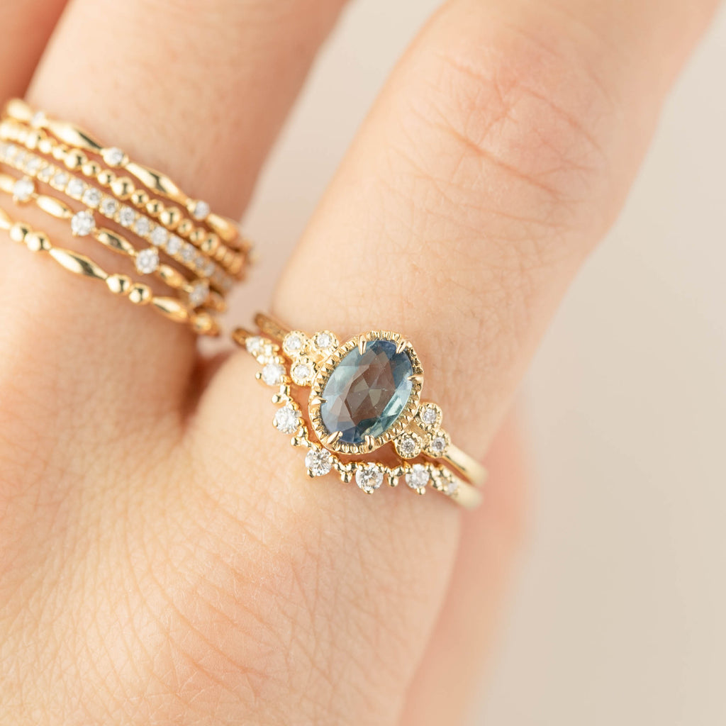 Celine Ring - 1ct Unheated Peacock Sapphire