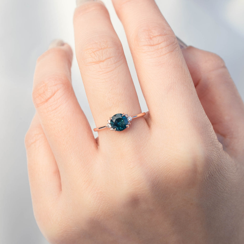 Lena Ring -1.17ct Teal Montana Sapphire, 14k Rose Gold (One of a kind)