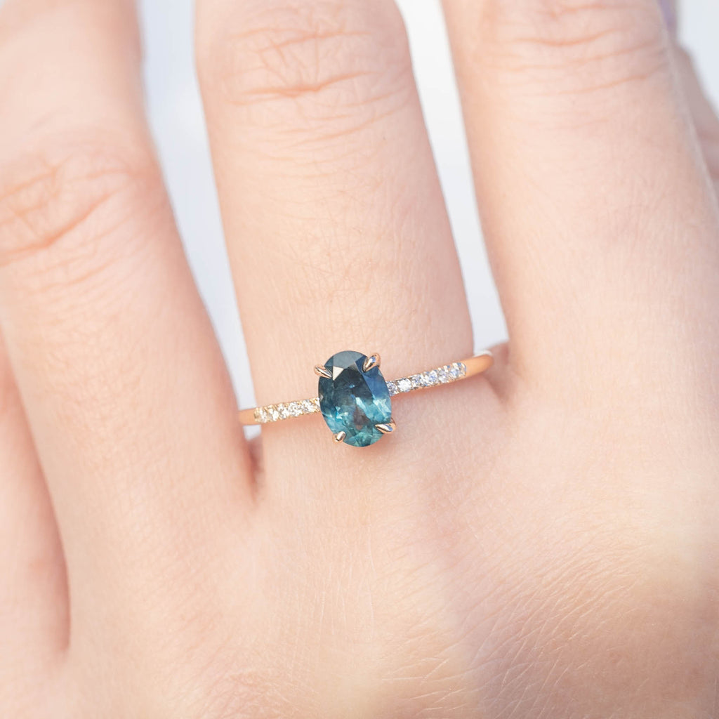 Audrey Ring - 1.07ct Blue Green Montana Sapphire (One of a kind)