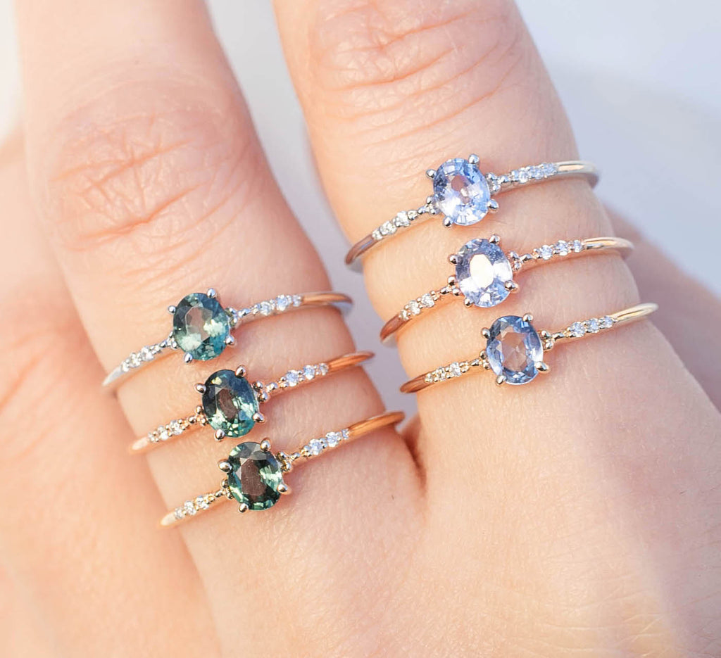 Eloise Ring - 0.4ct Blue Green Sapphire