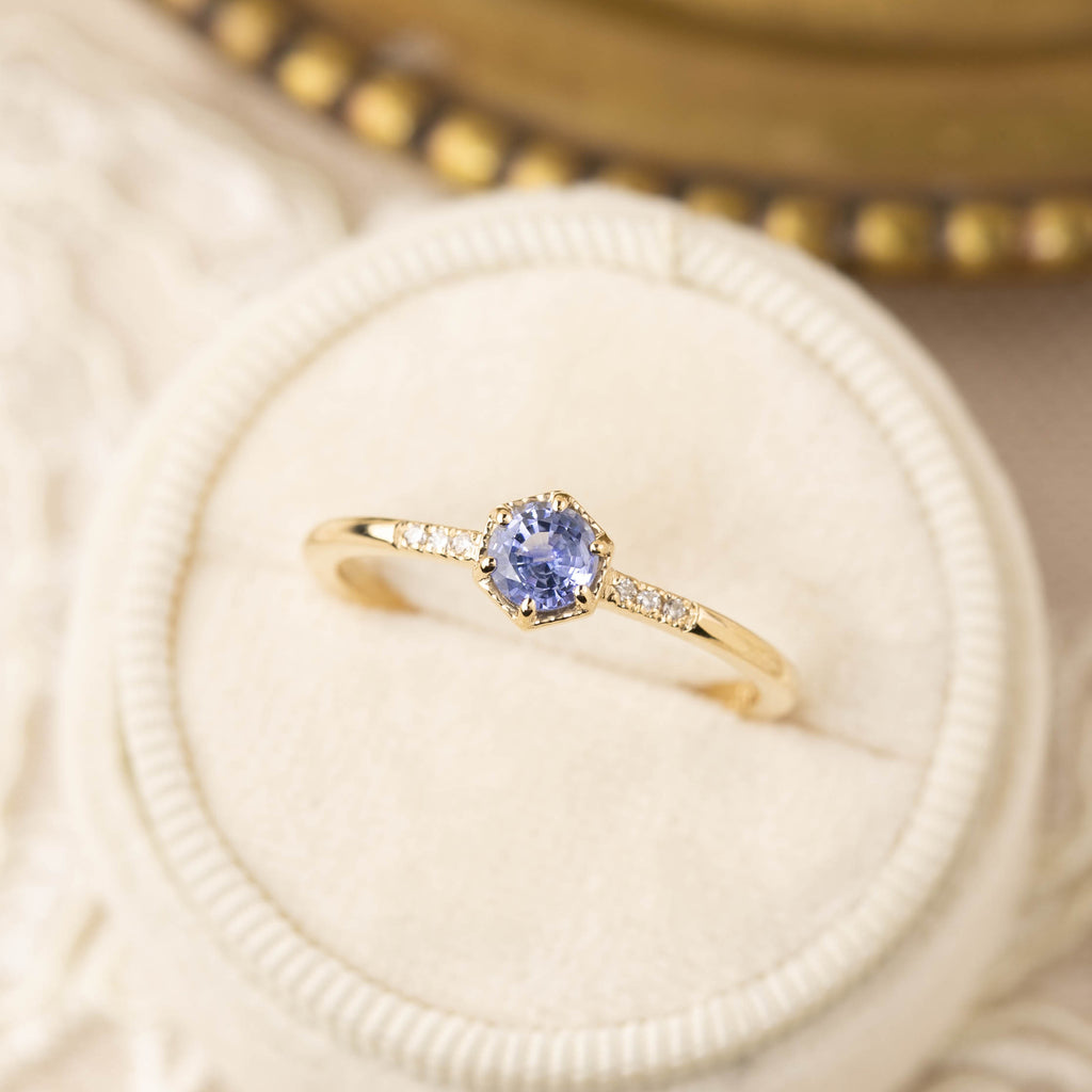 Grace Ring - 4.5mm Ceylon Blue Sapphire (One of a kind)