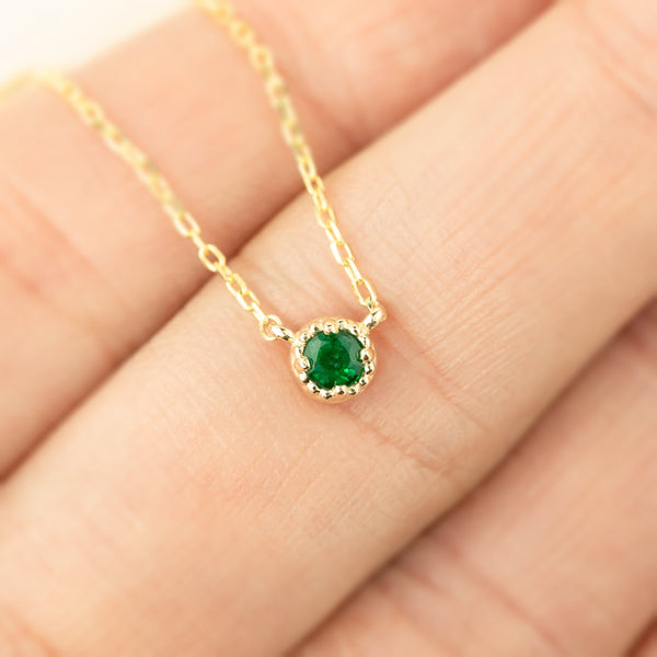 Dahlia Emerald Solitaire Necklace