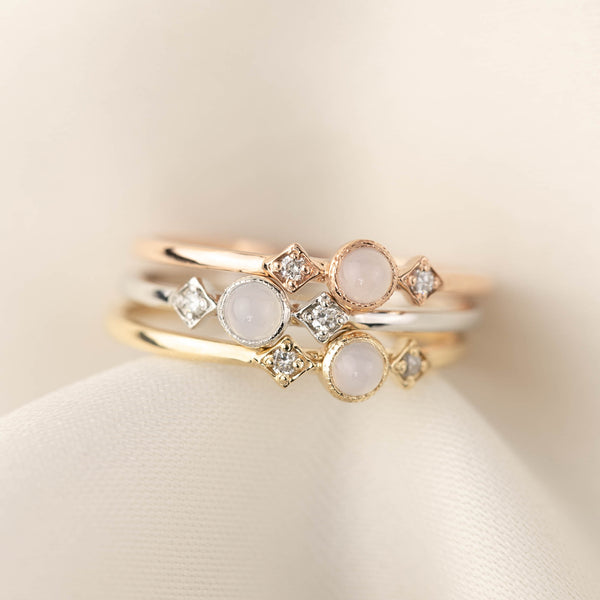 June -  Moonstone Star & Moon Ring