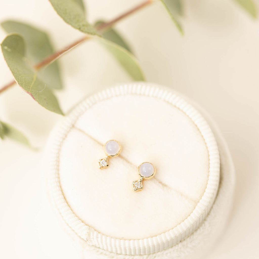 Moon & Star Studs - Moonstone