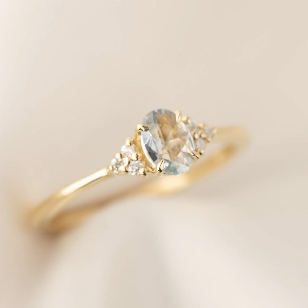 Teresa Ring - 6mm Unheated Light Blue Sapphire