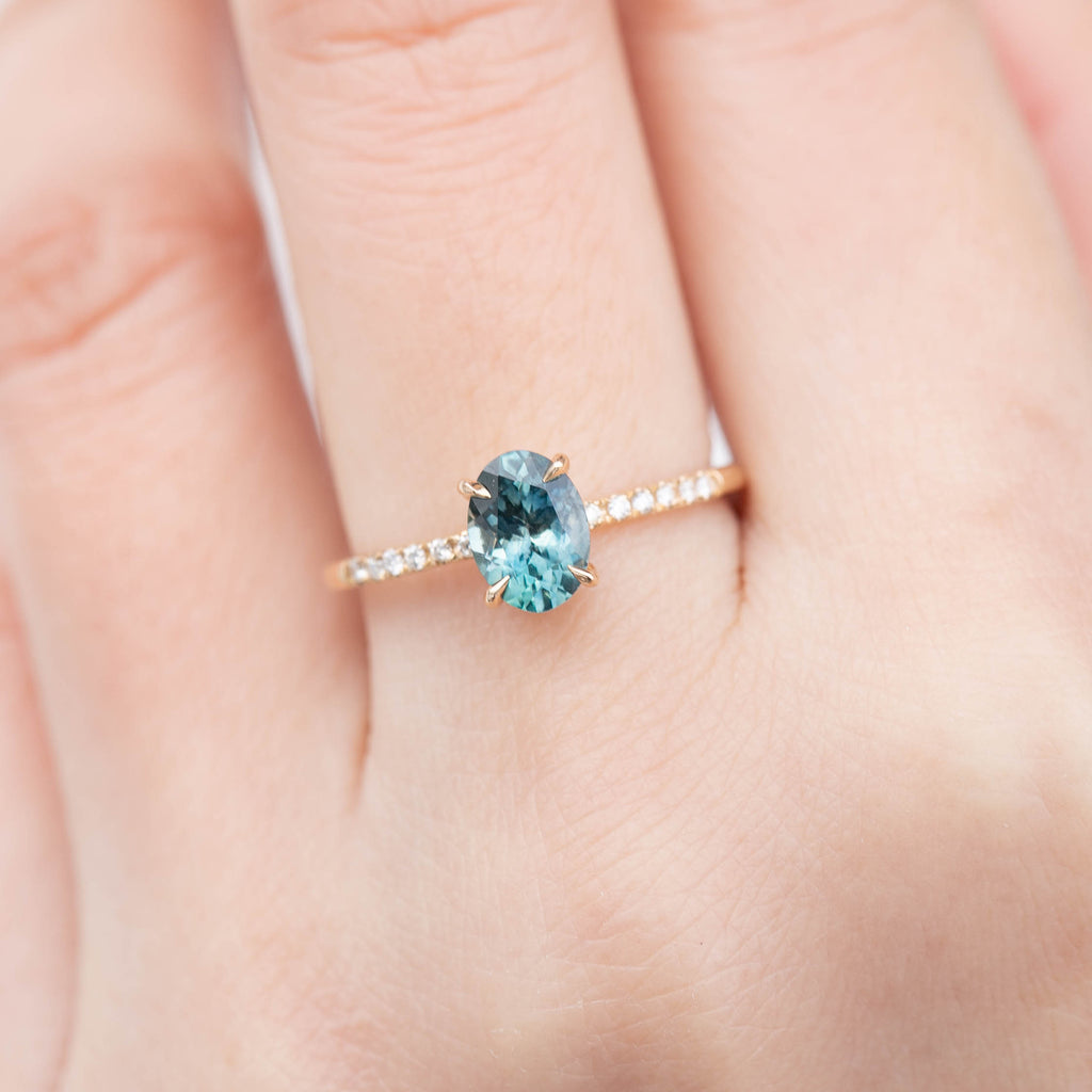 Audrey Ring - 1.24ct Blue-Green Montana Sapphire (One of a kind)