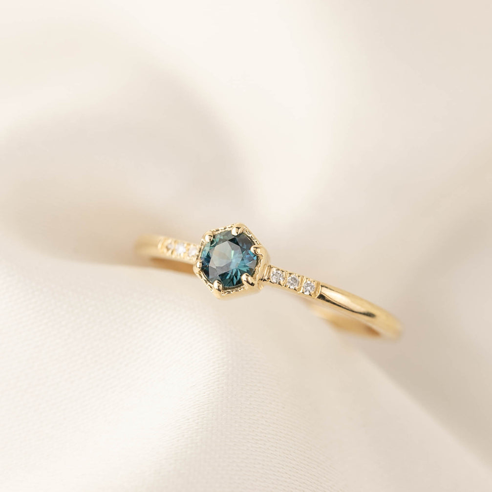 Grace Ring - 4.5mm Australian Teal Sapphire (One of a kind)