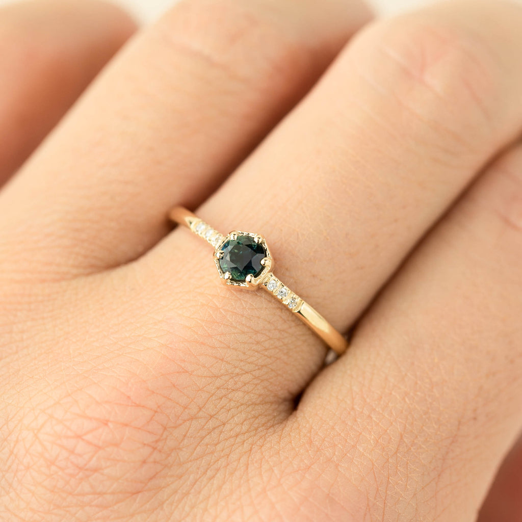 Grace Ring - 4.5mm Australian Green Sapphire (One of a kind)