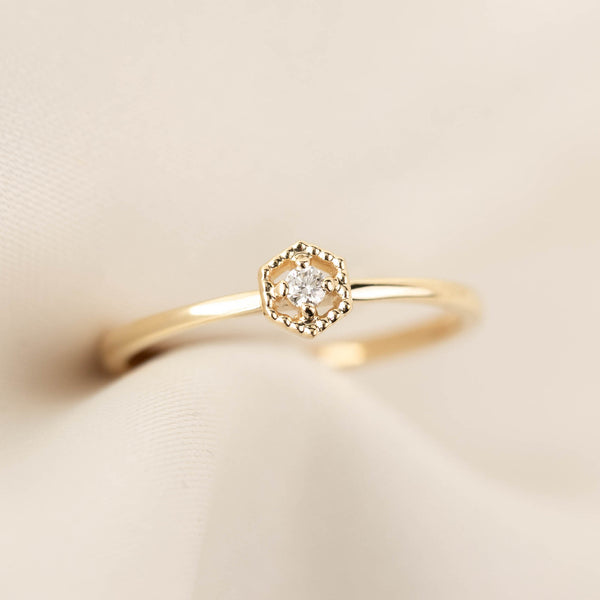 Hexagon Diamond Ring - 0.04ct