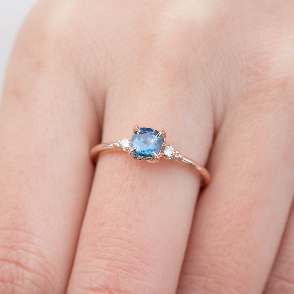 Estel Ring - 0.76ct Cushion Cut Blue Montana Sapphire, 14k Rose Gold (One of a kind)