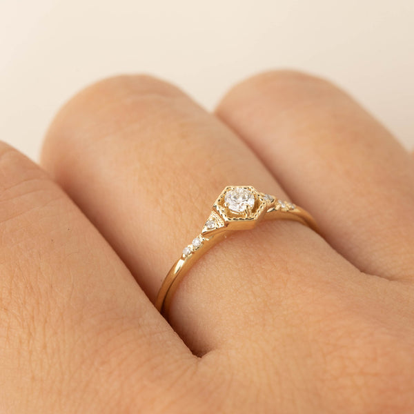 Hexagon Isabel Ring - Brilliant Diamond Ring