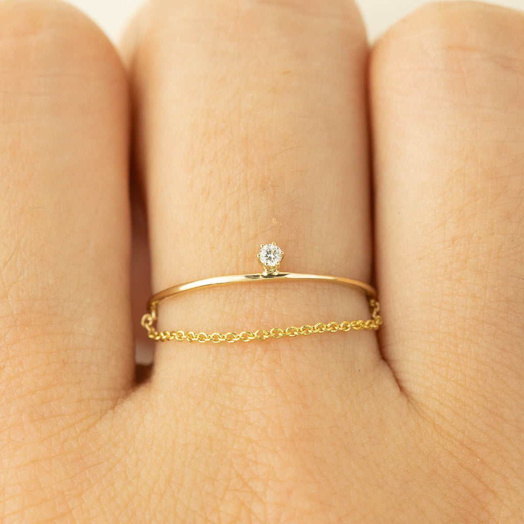 Gold Streaks Diamond Chain Ring 1.8mm