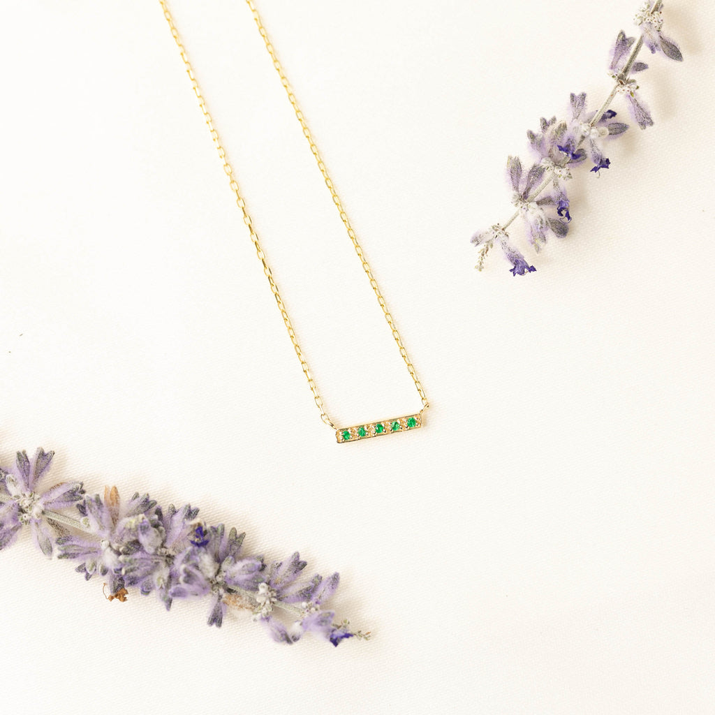 Pave Emerald Bar Necklace