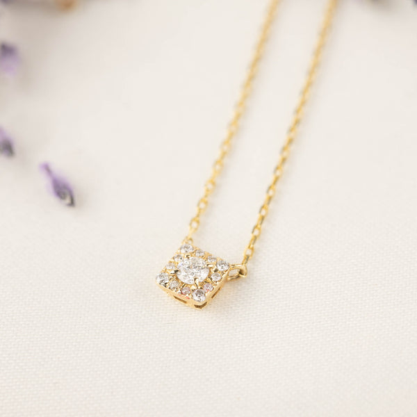 Jophiel Diamond Halo Necklace