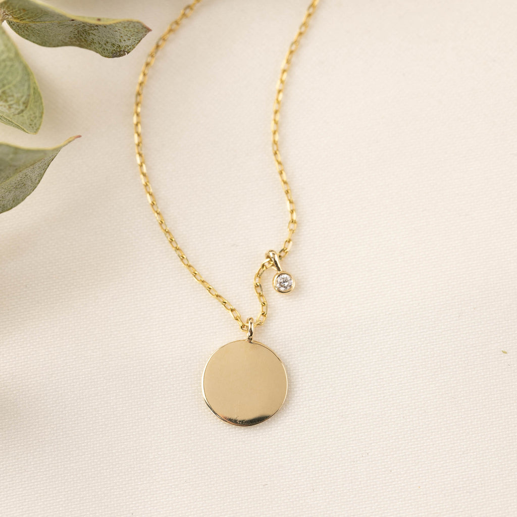 Single Initial Disc Necklace (9mm)