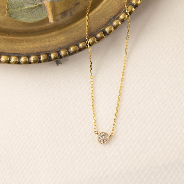 Pave Diamond Moon Necklace