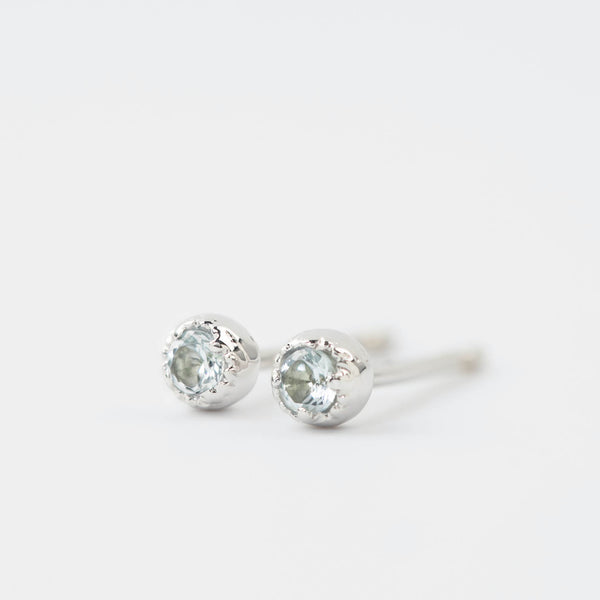 Dahlia Stud Earrings - Aquamarine
