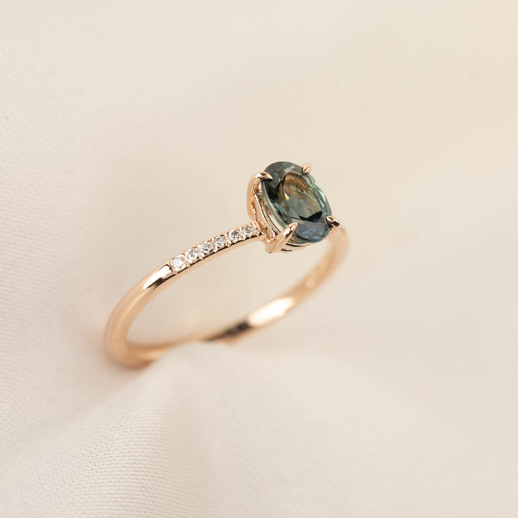 Audrey Ring - 1.03ct Teal Queensland Sapphire, 14k rose gold (One of a kind)