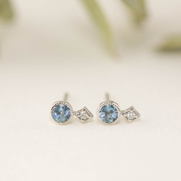 Moon & Star Studs - Aquamarine