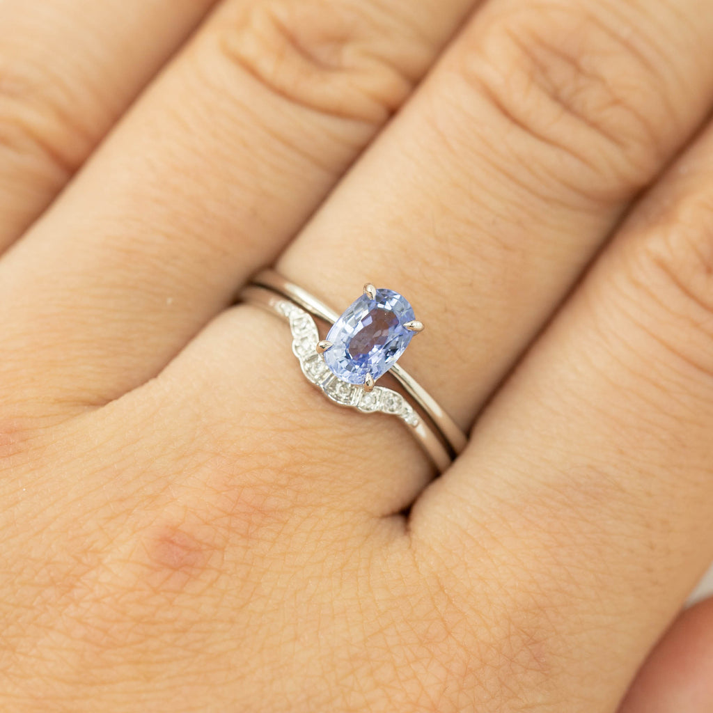 Nina Ring -1ct Ceylon Blue Sapphire, 14k White Gold (One of a kind)