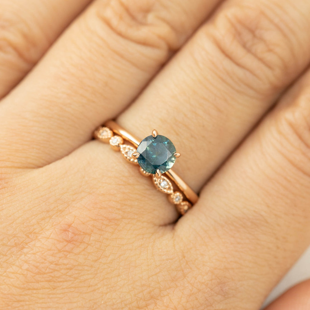 Jane Ring - 0.98ct Blue Green Montana Sapphire, 14k Rose Gold (One of a kind)