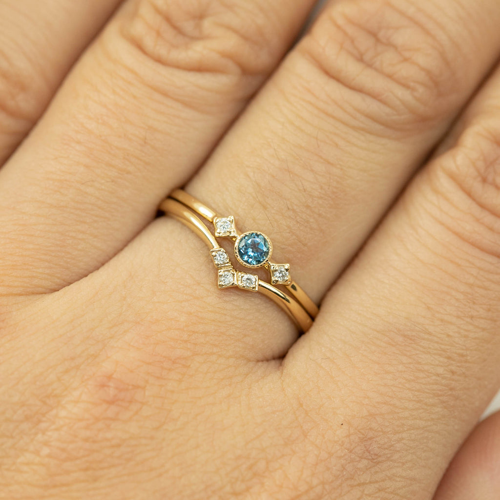 December -  London Blue Topaz Star & Moon Ring