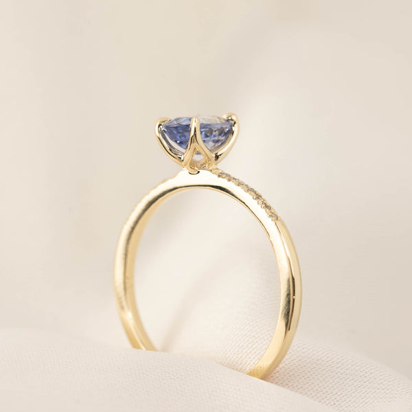 Custom Order Maria Ring - 1.16ct Ceylon Blue Sapphire, 14k Rose Gold for HM