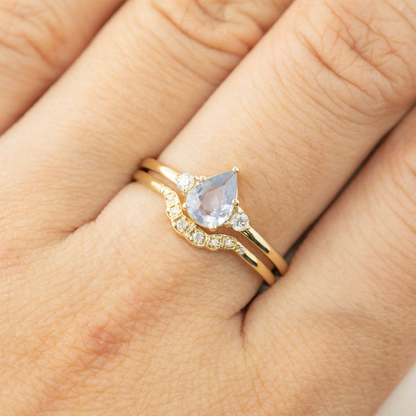 Emilie Ring - Unheated Light Blue Teardrop Sapphire (One of a kind)