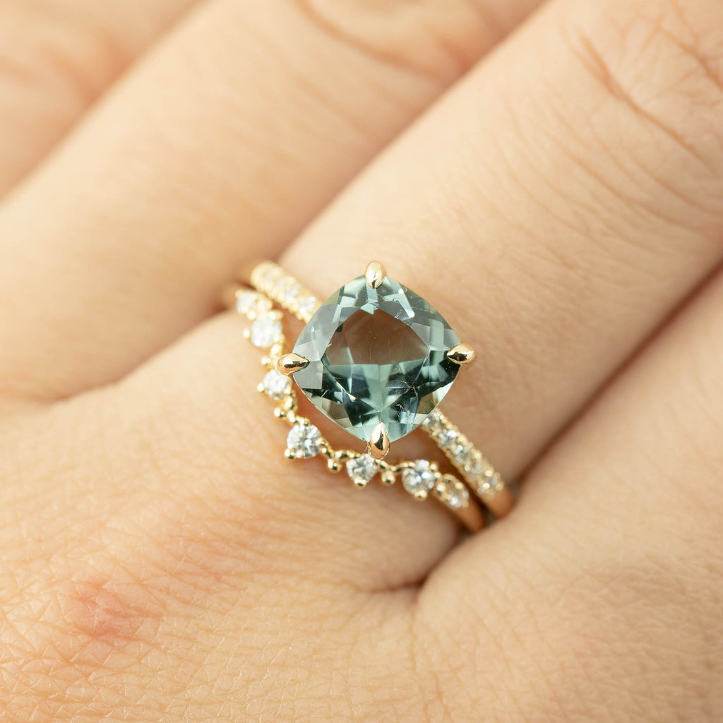 Audrey Ring -2.13ct Cushion Cut Green Tourmaline (One of a kind)