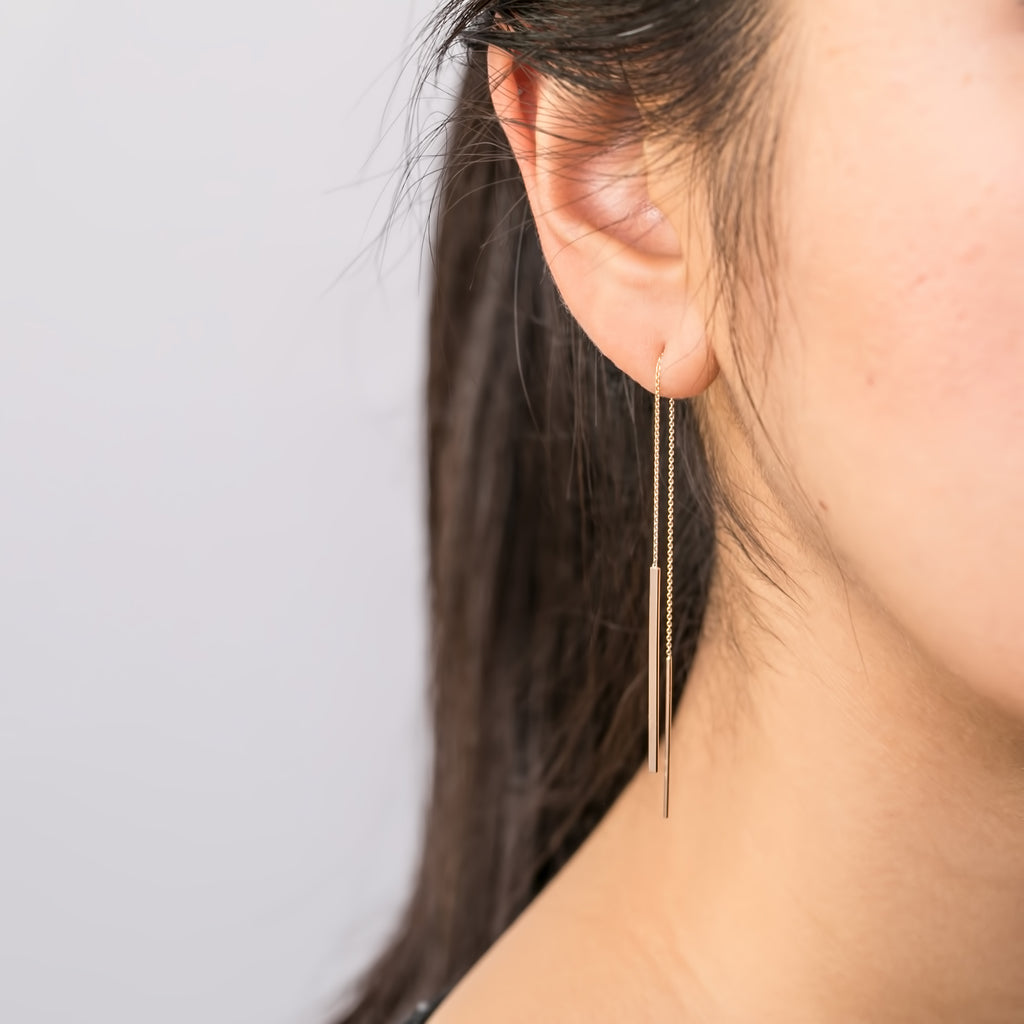 Gold Bar Threader Earrings