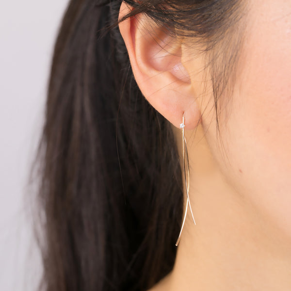 Gold Streaks Diamond Swing Earrings