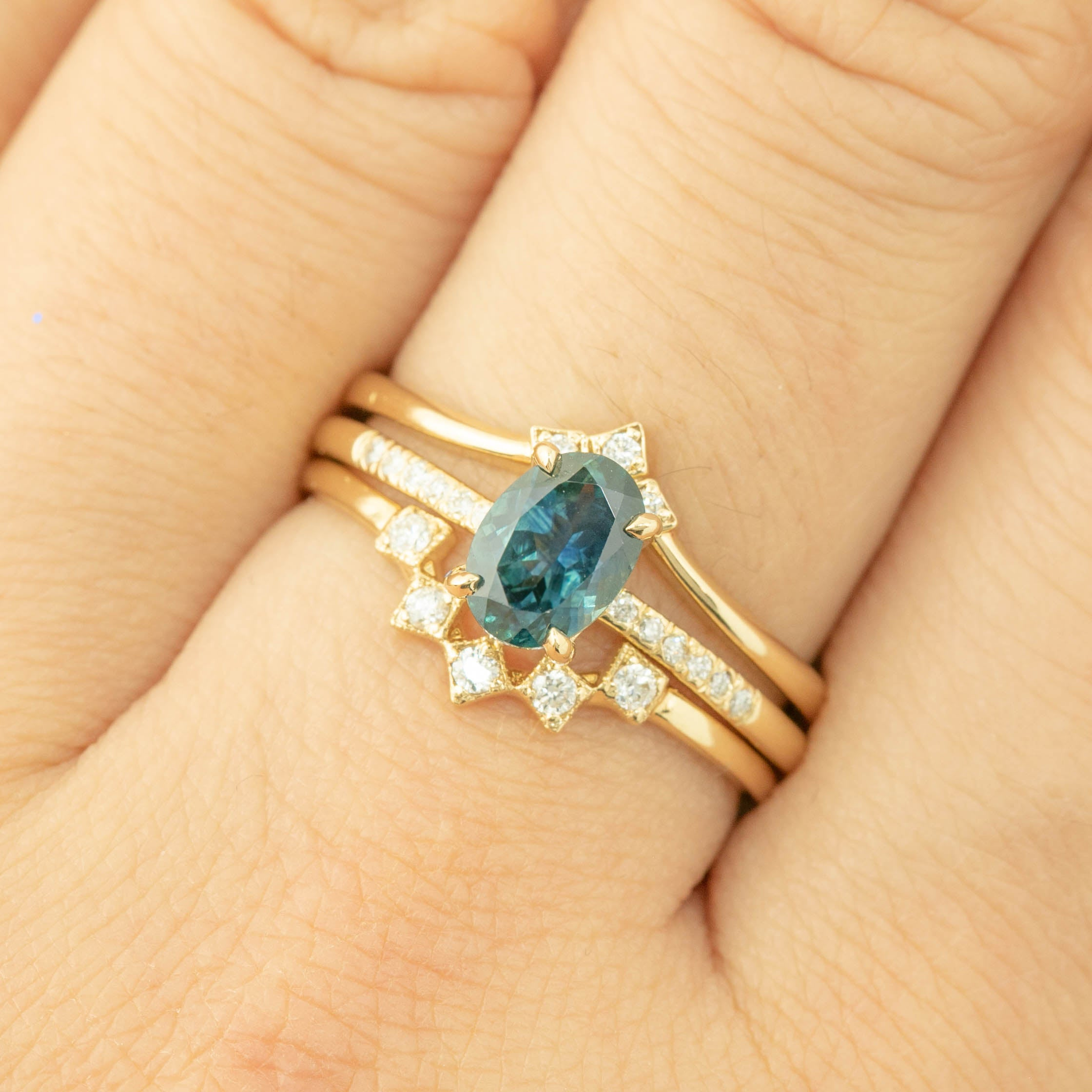 Audrey Ring - 1ct Teal Blue Montana Sapphire (One of a kind)
