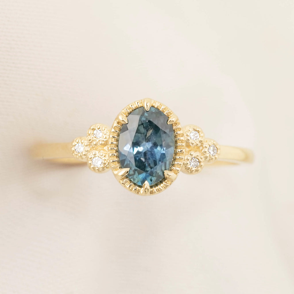 Celine Ring - Blue Green Montana Sapphire (Custom order for MG)