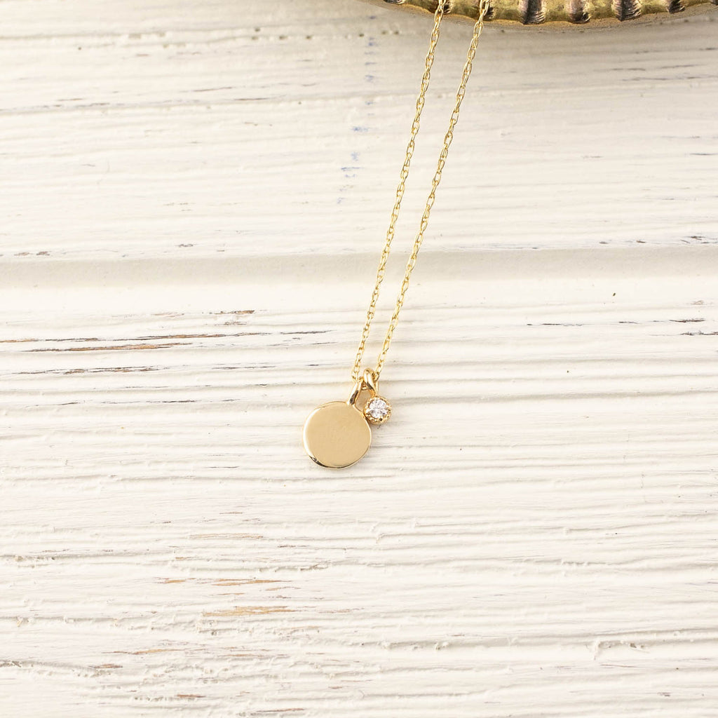 Kids Initial Disc Necklace with Birthstone