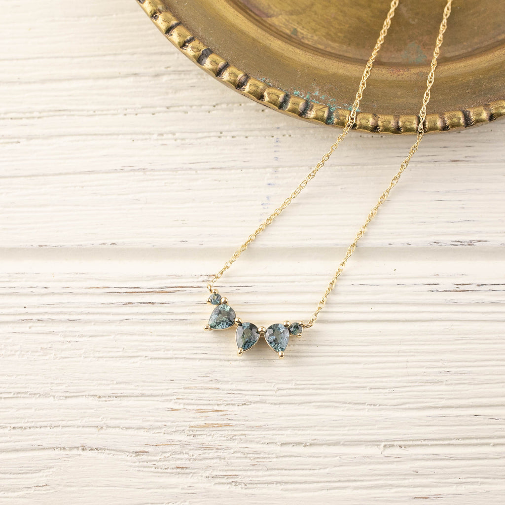 Sapphire Cluster Necklace (One of a kind)