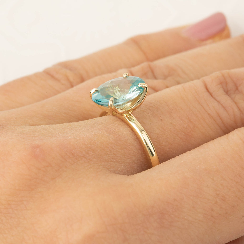 Sara Ring -Checker Board Cut 4ct Blue Zircon (One of a kind)