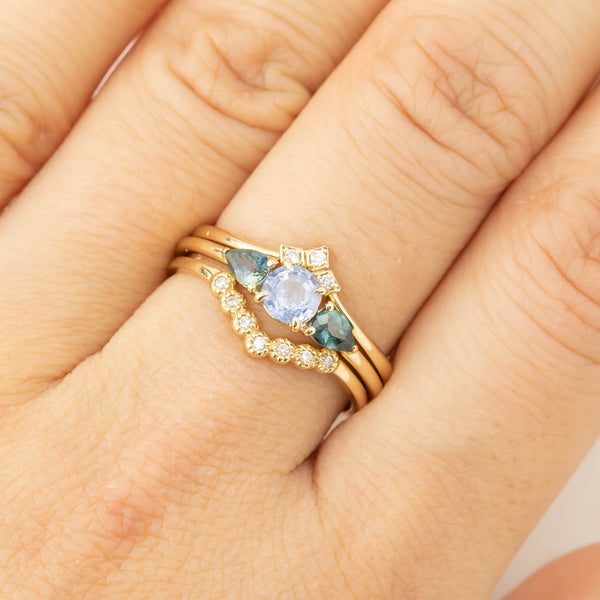 Teal Sapphire Three Stone Ring