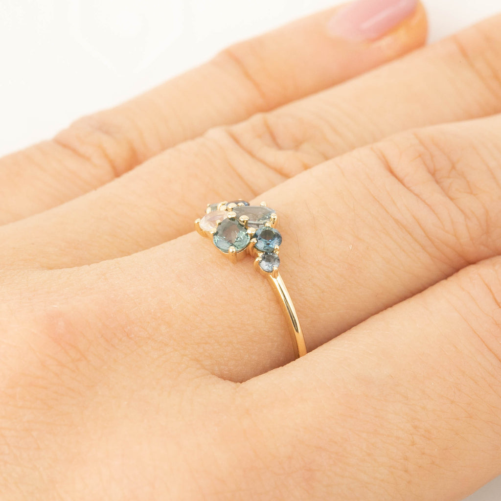 Teal Sapphire Cluster Ring (One of a kind)