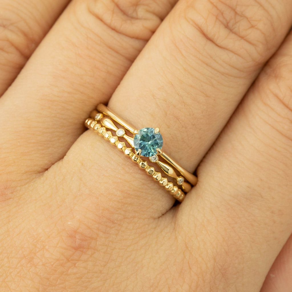 Alice Ring - 4.5mm Teal Blue Montana Sapphire