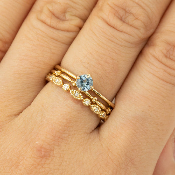 Alice Ring - 4.5mm Sky-blue Montana Sapphire (One of a kind C)