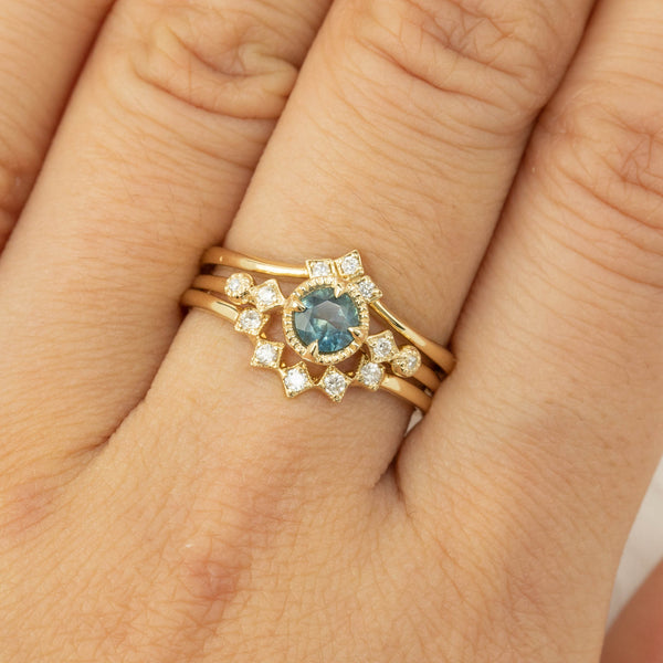 Stella Ring - 0.44ct Teal Green Montana Sapphire (One of a kind)