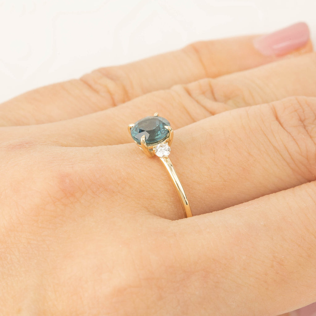 Three Stone Ring - 1.48ct Green Montana Sapphire (One of a kind)
