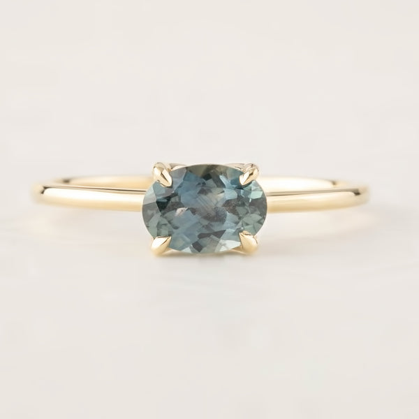 Sara Ring -1.12ct Blue Green Montana Sapphire (One of a kind)