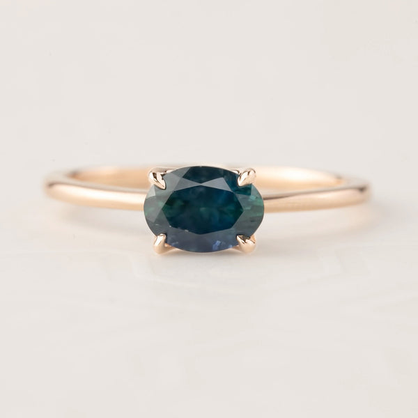 Sara Ring -1.00ct Green Montana Sapphire, 14k Rose Gold (One of a kind)